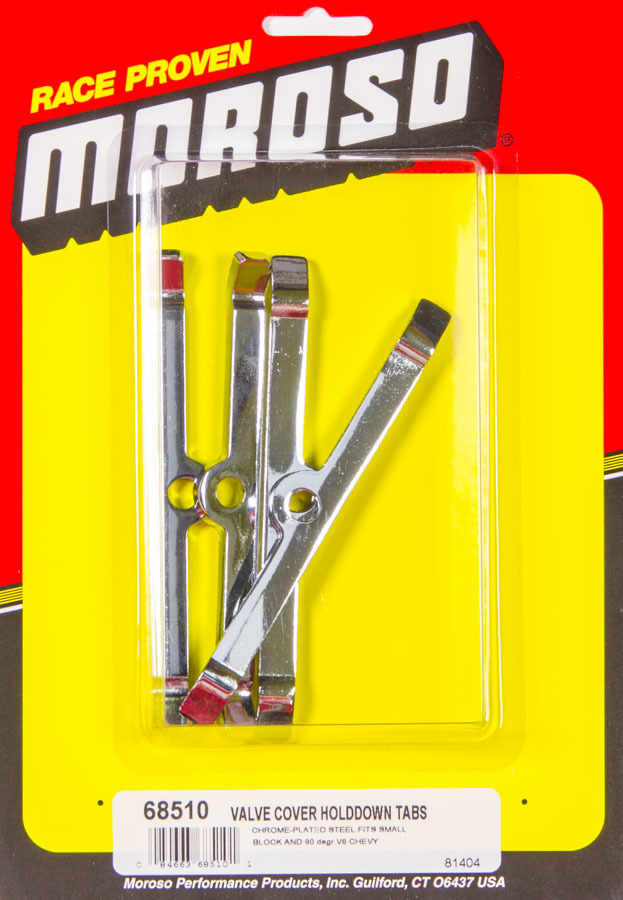 Moroso 68510 Valve Cover Hold Down Tabs, Steel, Chrome, Small Block Chevy / V6, Set of 4