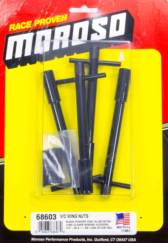 Moroso 68603 Valve Cover Fastener, Stud, 1/4-20 in Thread, 1.375 in Long, Wing Nuts, 5 in Long, Aluminum, Black Powder Coat, Set of 4