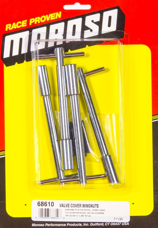 Moroso 68610 Valve Cover Fastener, Stud, 1/4-20 in Thread, 1.375 in Long, Wing Nuts, 5 in Long, Steel, Chrome, Set of 4
