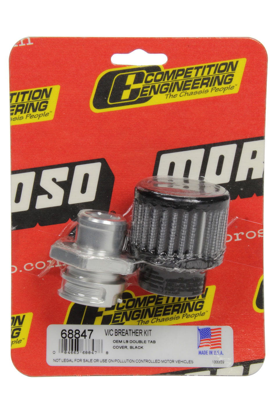 Moroso 68847 Breather, Screw-In, Round, GM LS Double Tab, Clamp-On Filter, Kit