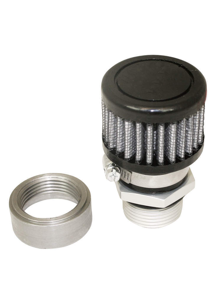 Moroso 68851 Breather, Weld-On, Round, 1 in Threaded Bung, Clamp-On Filter, Kit