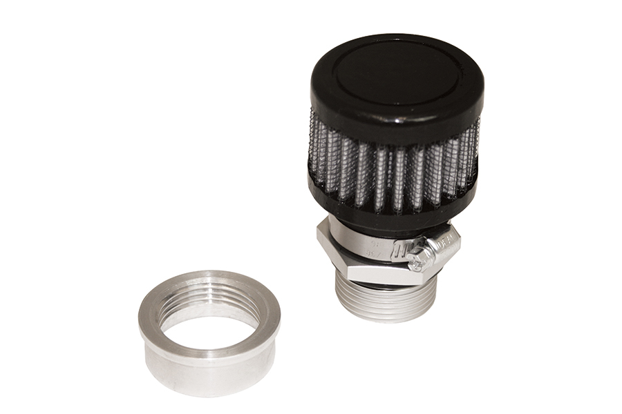 Moroso 68853 Breather, Weld-On, Round, 1 in Threaded Bung, Clamp-On Filter, Kit