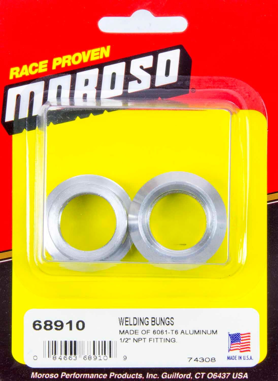 Moroso 68910 Bung, 1/2 in NPT Female, Weld-On, Aluminum, Natural, Pair