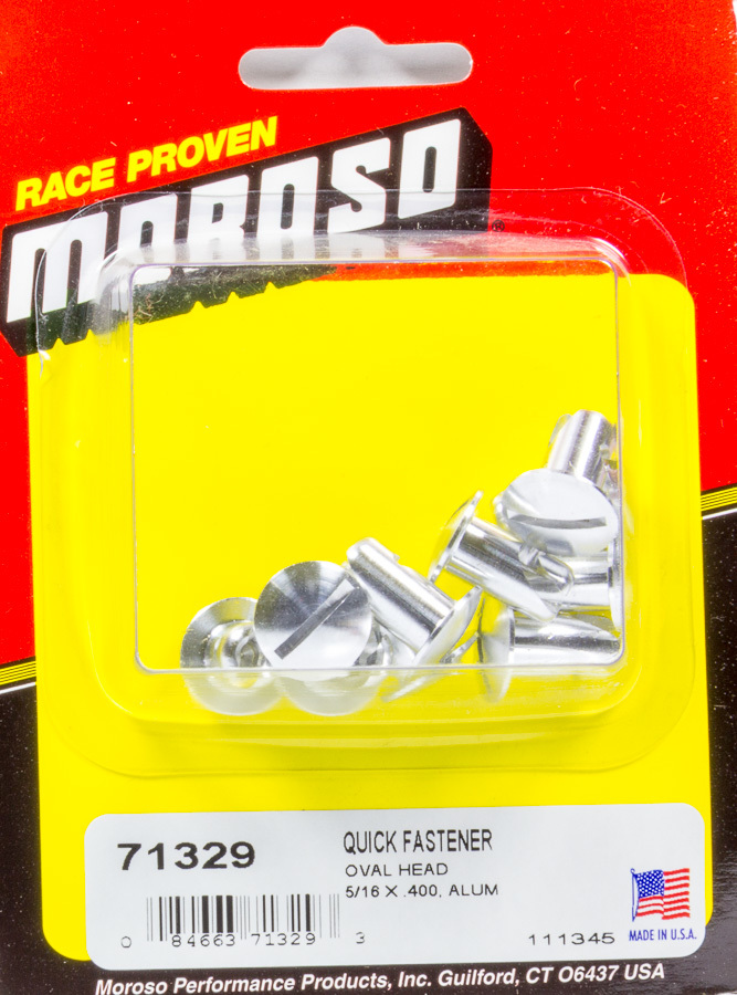 Moroso 71329 Quick Turn Fastener, Oval Head, Slotted, 5/16 x 0.400 in Body, Aluminum, Natural, Set of 10