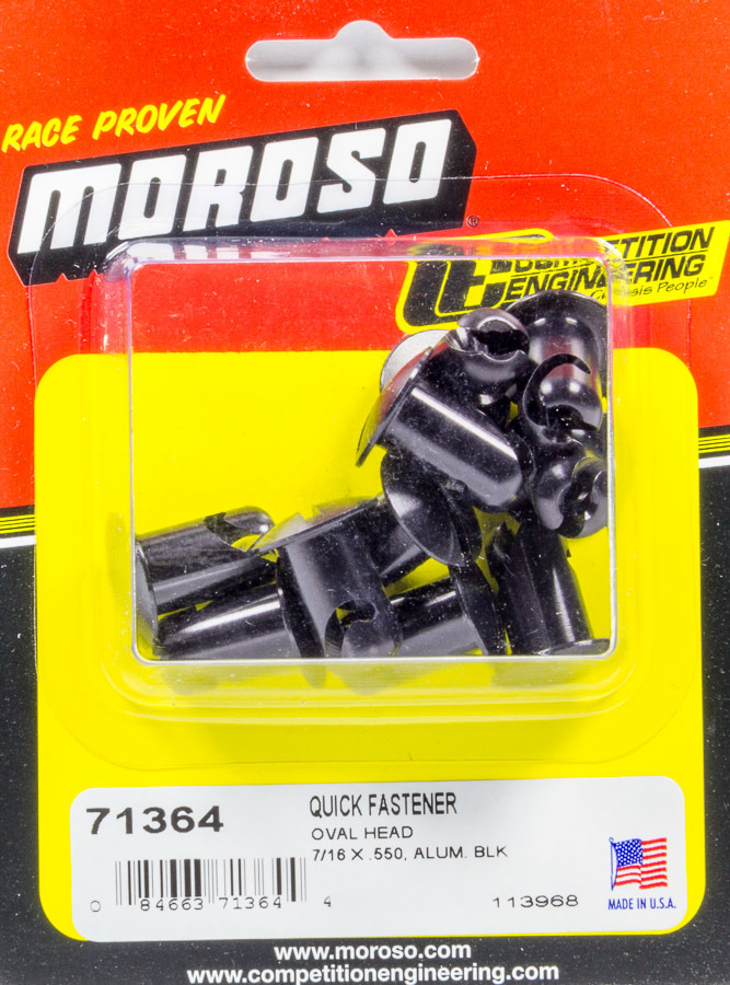 Moroso 71364 Quick Turn Fastener, Oval Head, Slotted, 7/16 x 0.550 in Body, Aluminum, Black Anodize, Set of 10