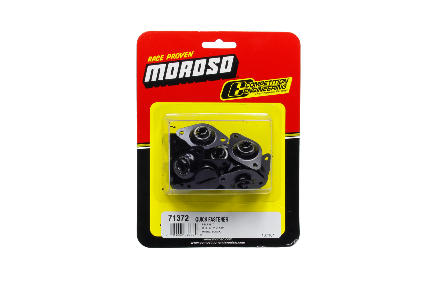 Moroso 71372 Quick Turn Fastener, Self Ejecting, Flush Head, Slotted, 7/16 x 0.500 in Body, Steel, Black, Set of 10