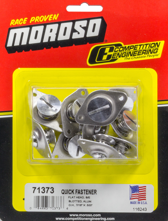 Moroso 71373 Quick Turn Fastener, Self Ejecting, Flush Head, Slotted, 7/16 x 0.500 in Body, Aluminum, Natural, Set of 10