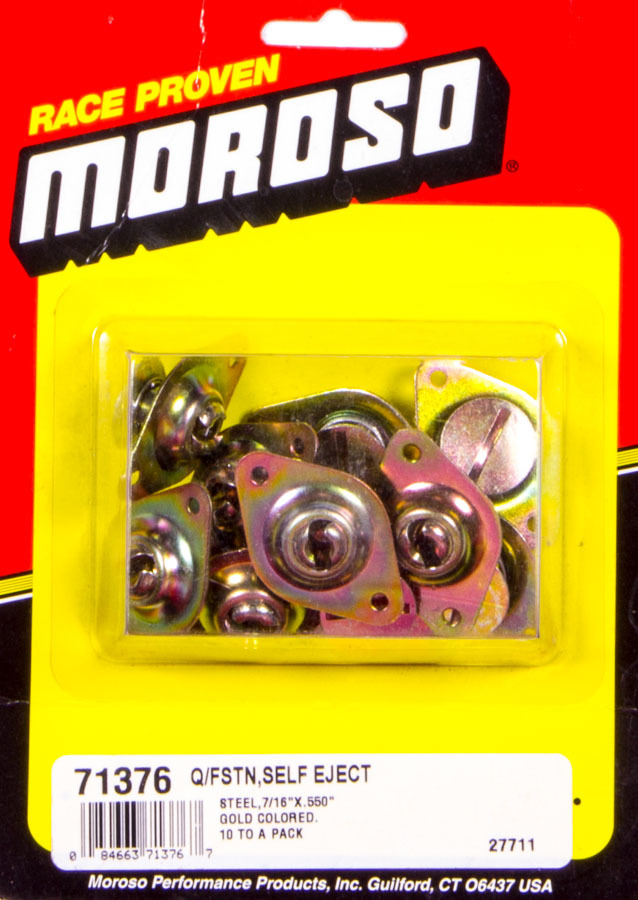 Moroso 71376 Quick Turn Fastener, Self Ejecting, Large Head, Flush Head, Slotted, 7/16 x 0.500 in Body, Steel, Cadmium, Set of 10
