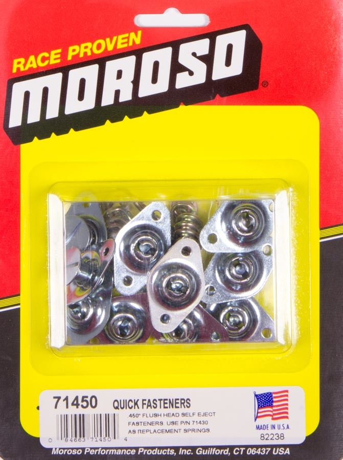 Moroso 71450 Quick Turn Fastener, Self Ejecting, Flush Head, Slotted, 5/16 x 0.450 in Body, Steel, Zinc Plated, Set of 10
