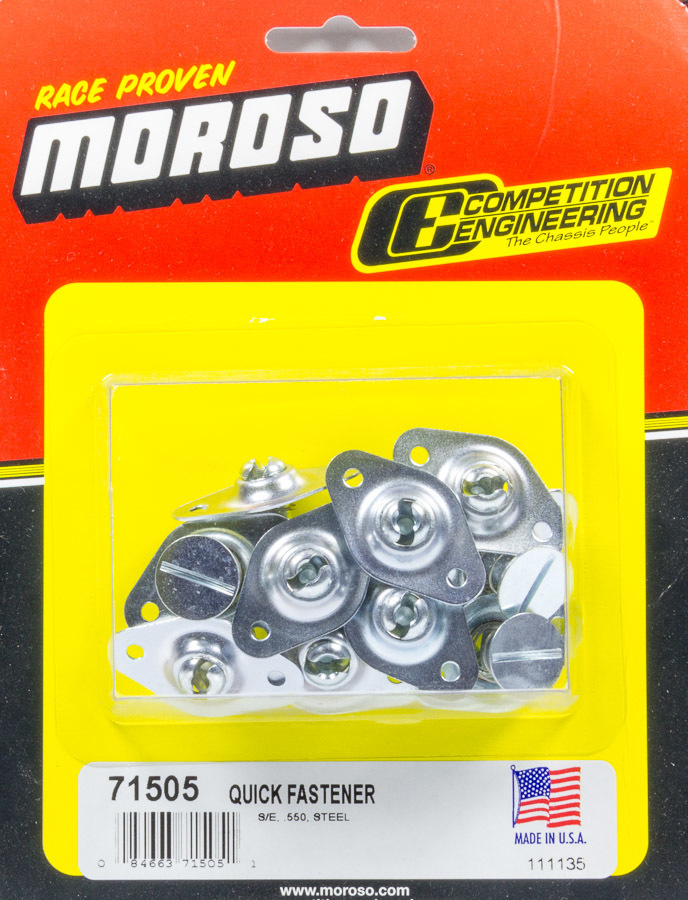 Moroso 71505 Quick Turn Fastener, Self Ejecting, Flush Head, Slotted, 5/16 x 0.550 in Body, Steel, Natural, Set of 10