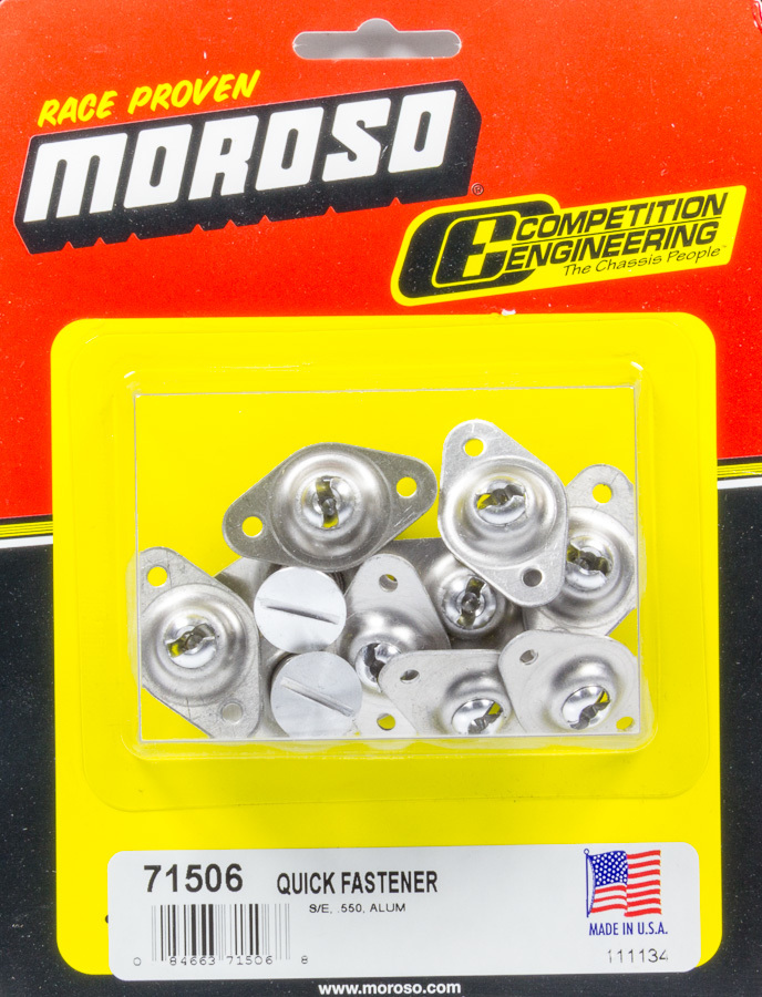 Moroso 71506 Quick Turn Fastener, Self Ejecting, Flush Head, Slotted, 5/16 x 0.550 in Body, Aluminum, Natural, Set of 10