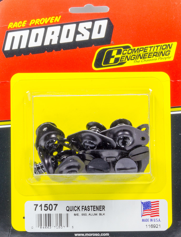 Moroso 71507 Quick Turn Fastener, Self Ejecting, Flush Head, Slotted, 5/16 x 0.550 in Body, Aluminum, Black Anodize, Set of 10