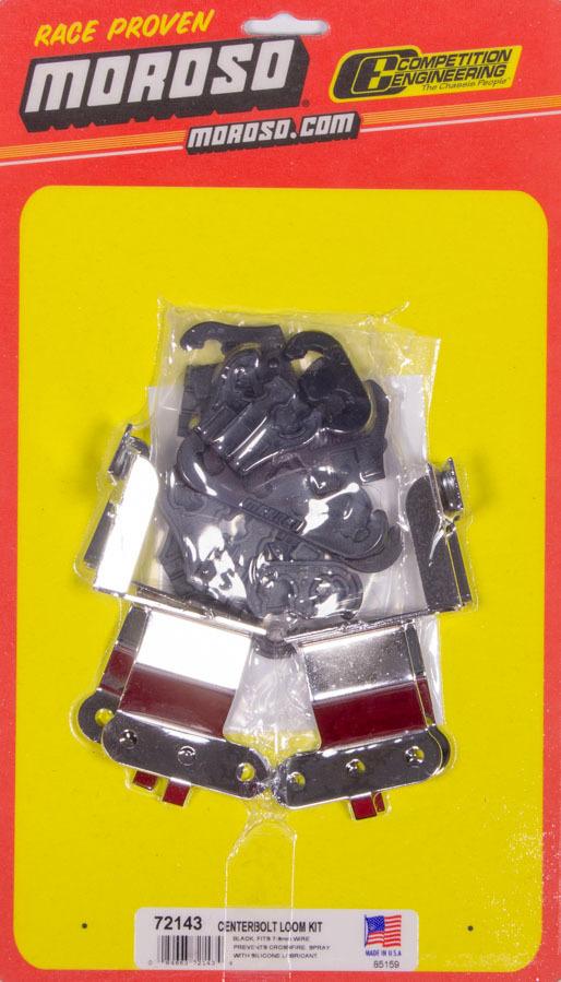 Moroso 72143 Spark Plug Wire Loom, Valve Cover Mount, 7-9 mm, Black / Chrome, Center Bolt, Small Block Chevy Valve Cover, Kit
