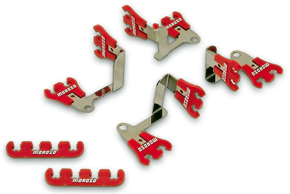 Moroso 72168 Spark Plug Wire Loom, Show Car, Valve Cover Mount, 7-9 mm, Red / Chrome, Universal, Kit