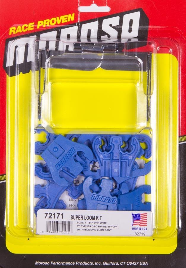 Moroso 72171 Spark Plug Wire Loom, Super Loom, Valve Cover Mount, 7-9 mm, Blue / Chrome, Universal, Kit