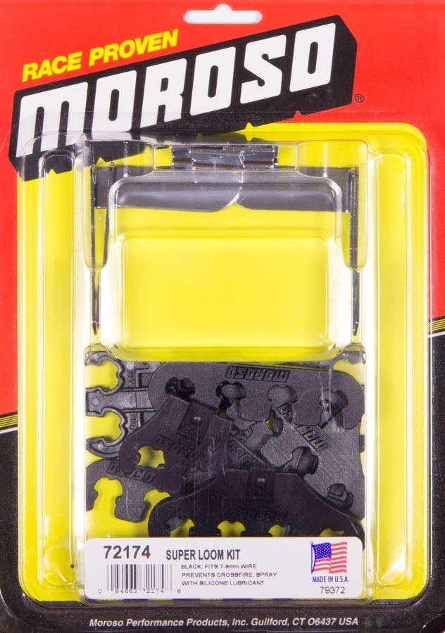 Moroso 72174 Spark Plug Wire Loom, Super Loom, Valve Cover Mount, 7-9 mm, Black / Chrome, Universal, Kit