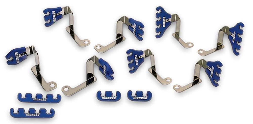 Moroso 72175 Spark Plug Wire Loom, Valve Cover Mount, 7-9 mm, Blue / Chrome, Big Block Chevy, Kit