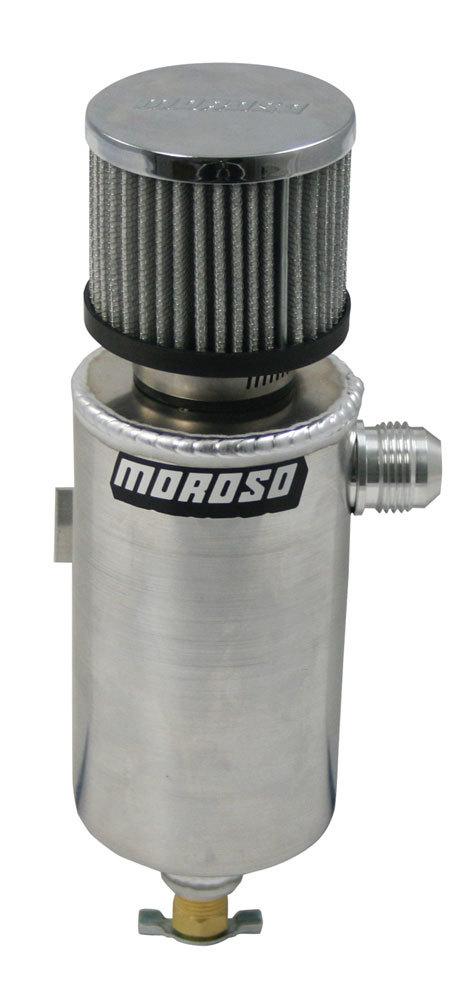 Moroso 85461 Breather Tank, 3-1/8 in Diameter x 11-1/2 in Tall, 12 AN Male Inlet, Petcock Drain, Bar Mount, Aluminum, Each