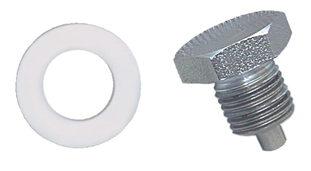 Moroso 97001 Drain Plug, 1/2-20 in Thread, 3/4 in Hex Head, Nylon Washer, Magnetic, Steel, Zinc Oxide, Each