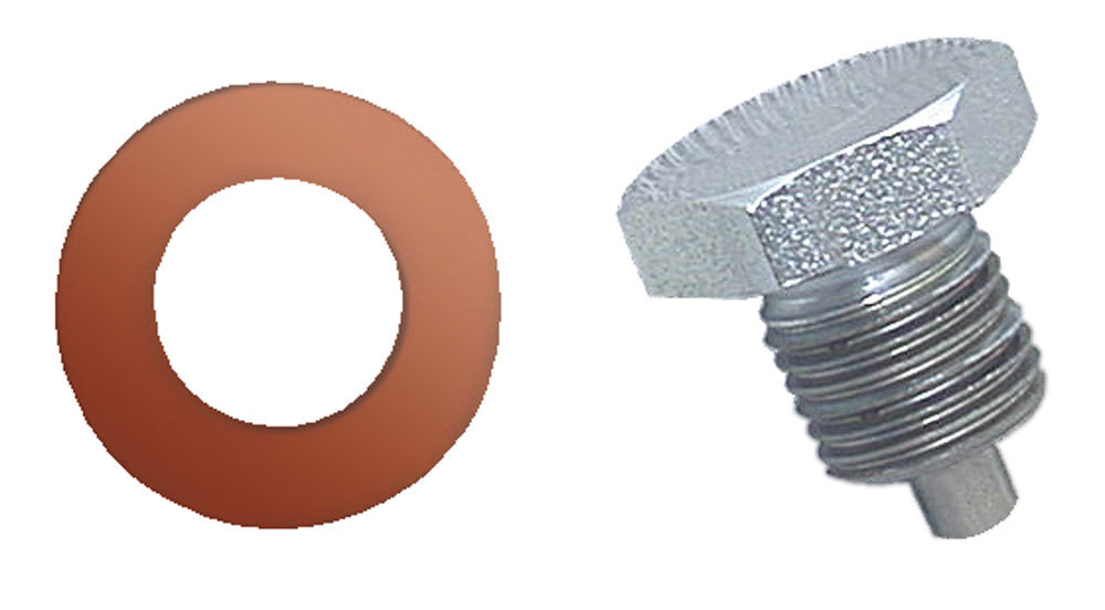 Moroso 97002 Drain Plug, 1/2-20 in Thread, 3/4 in Hex Head, Copper Washer, Magnetic, Steel, Zinc Oxide, Each