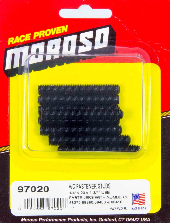 Moroso 97020 Valve Cover Fastener, Stud, 1/4-20 in Thread, 1.750 in Long, Steel, Black Oxide, Set of 8