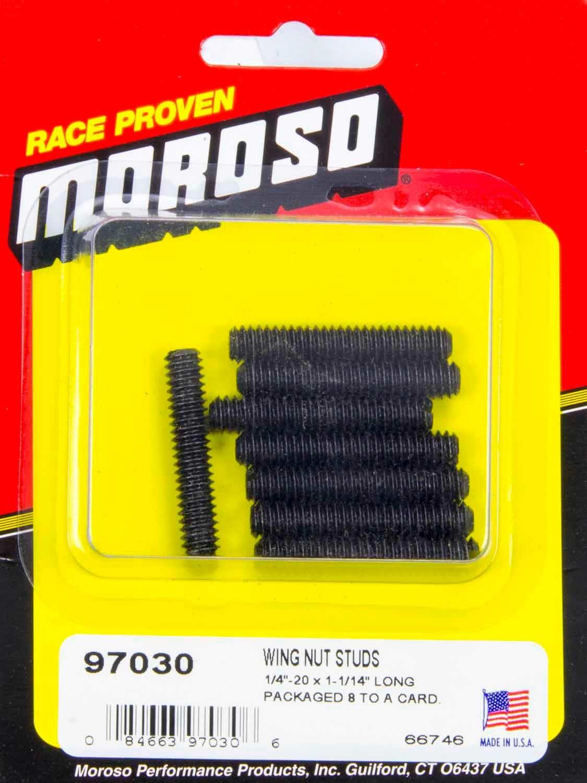 Moroso 97030 Valve Cover Fastener, Stud, 1/4-20 in Thread, 1.375 in Long, Steel, Black Oxide, Set of 8