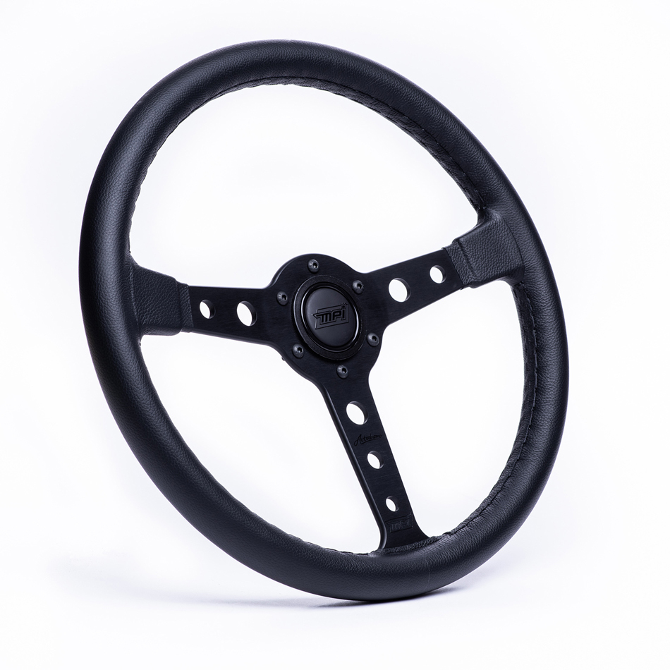 MPI USA MPI-ATDR-70B Steering Wheel, Autodromo, 14 in Diameter, 3-Spoke, 25 mm Dish, Leather Grip, Aluminum, Black, Each