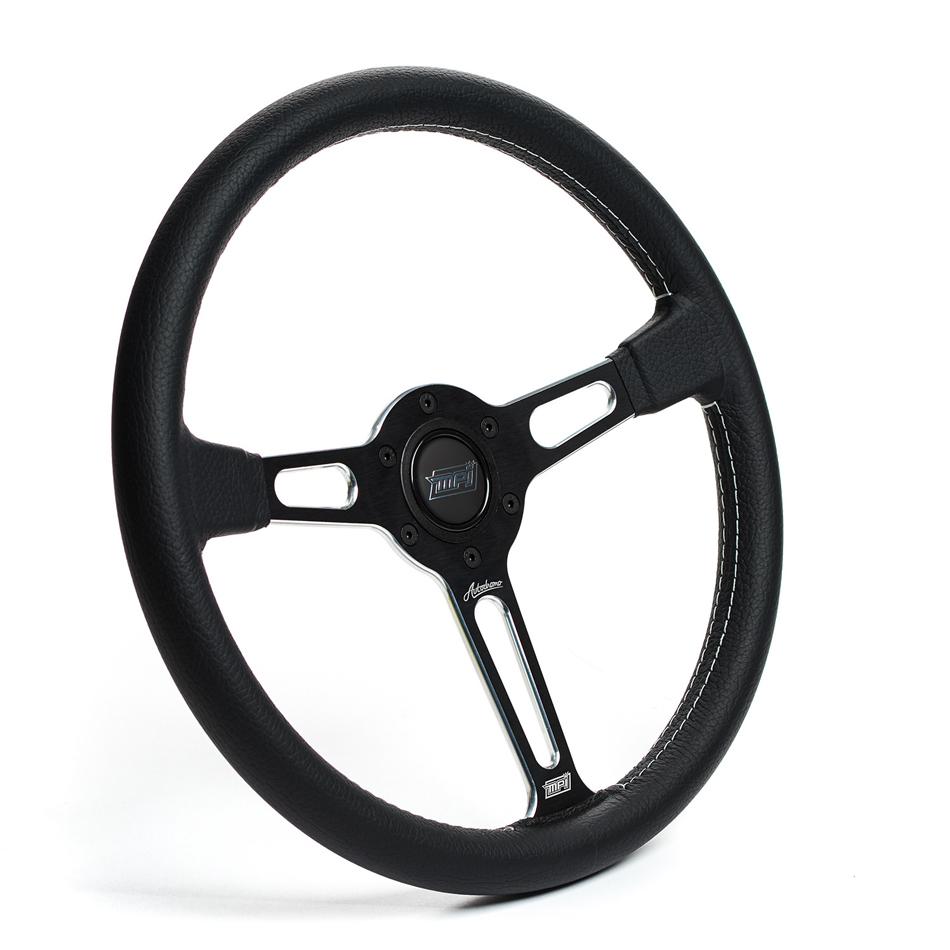MPI USA MPI-ATDR-80BSPM Steering Wheel, Autodromo, 14 in Diameter, 3-Spoke, 25 mm Dish, Leather Grip, Aluminum, Black, Each