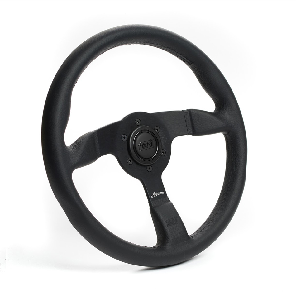 MPI USA MPI-ATDR-90B Steering Wheel, Autodromo, 14 in Diameter, 3-Spoke, 25 mm Dish, Leather Grip, Aluminum, Black, Each