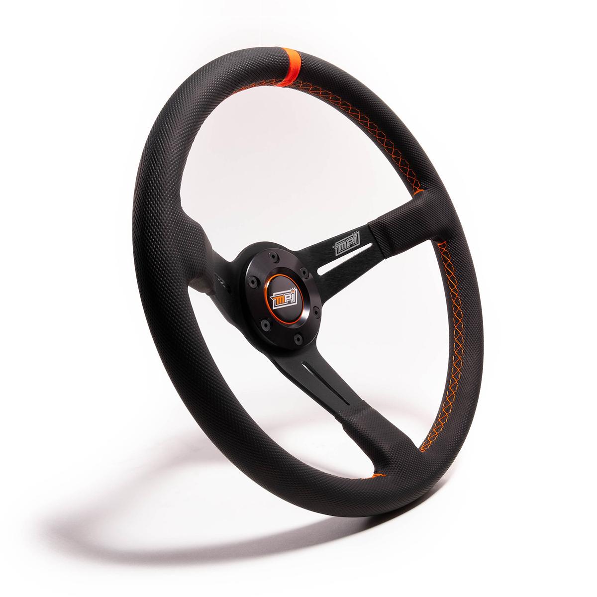 MPI USA MPI-DO-14-C-HG Steering Wheel, Drifting / SXS / Track Day / Off Road, 13-3/4 in Diameter, 3 Spoke, 3-1/2 in Dish, Gray Rubber Grip, Orange Stripe, Aluminum, Black, Each