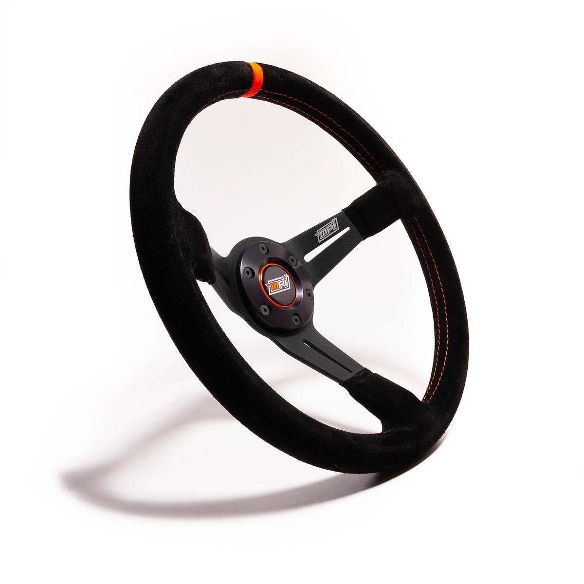 MPI USA MPI-DO-14-C Steering Wheel, Drifting / Track Day / Dirt / Off Road, 13-3/4 in Diameter, 3 Spoke, 3-1/2 in Dish, Black Suede Grip, Orange Stripe, Aluminum, Black, Each
