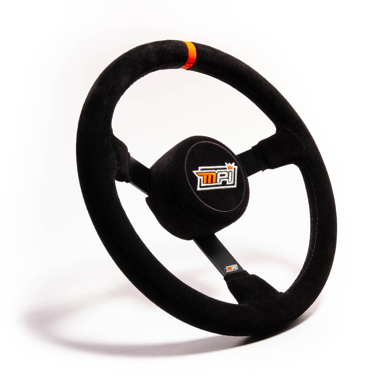 MPI USA MPI-DP-13 Steering Wheel, Lightweight, 12-3/4 in Diameter, 3-Spoke, 3 in Dish, Black Suede Grip, Orange Stripe, Steel, Black, Each