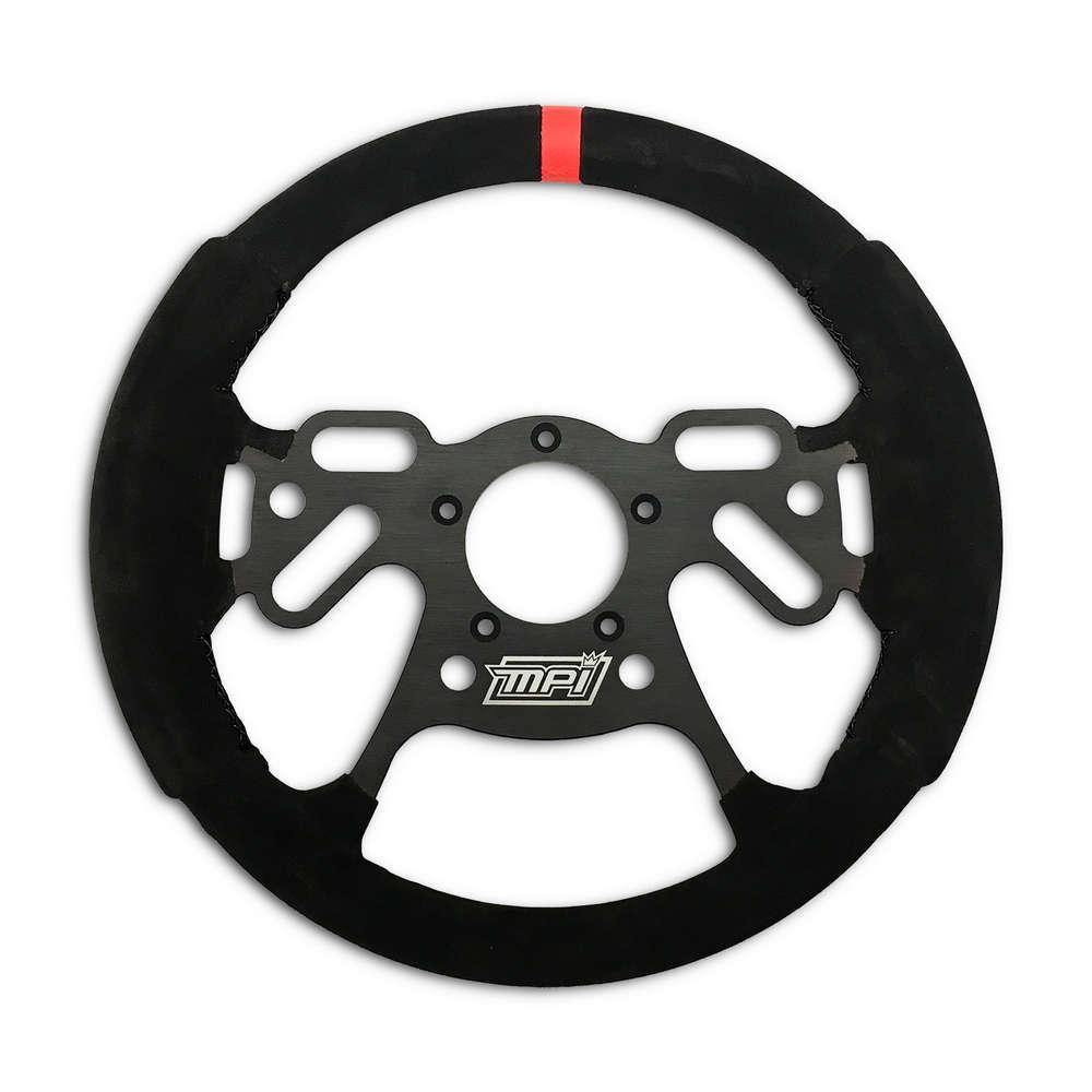 MPI USA MPI-DRG-12 Steering Wheel, Drag, 12.00 in Diameter, 4 Spoke, Flat, Black Italian Suede, Orange Stripe, Aluminum, Black, Each