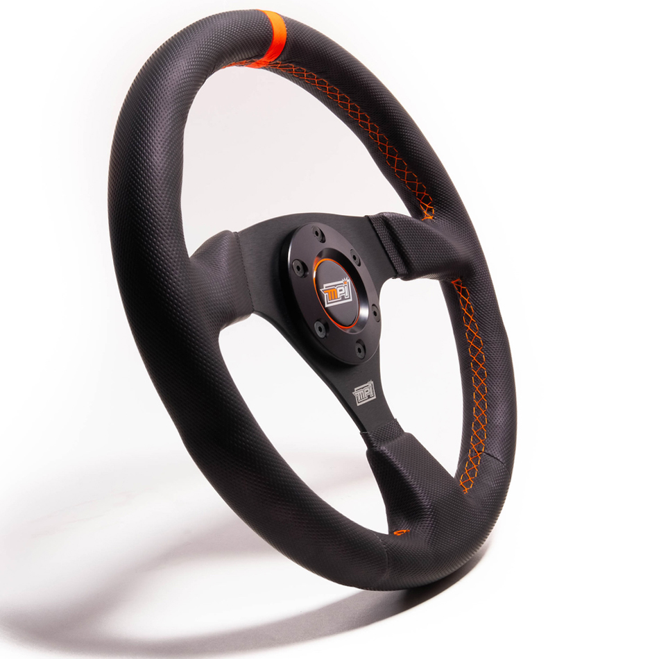 MPI USA MPI-F-13-C-HG Steering Wheel, Drifting / Formula / SXS / Touring Car / Track Day / Off Road, 12-3/4 in Diameter, 1-1/4 in Dish, Gray Rubber Grip, Aluminum, Black, Each