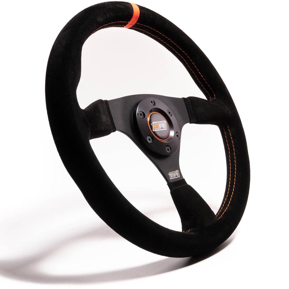 MPI USA MPI-F-13-C Steering Wheel, Drifting / Formula / SXS / Touring Car / Track Day / Off Road, 12-3/4 in Diameter, 1-1/4 in Dish, Black Suede Grip Orange Stripe, Aluminum, Black, Each