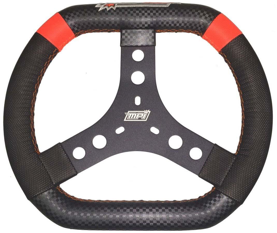 MPI USA MPI-KP-13-A Steering Wheel, Karting / Quarter Midget / Mini Outlaw, 12-3/4 in Diameter, 3-Spoke, 1/2 in Dish, Foam Grip, Orange Stripe, Aluminum, Black, Each