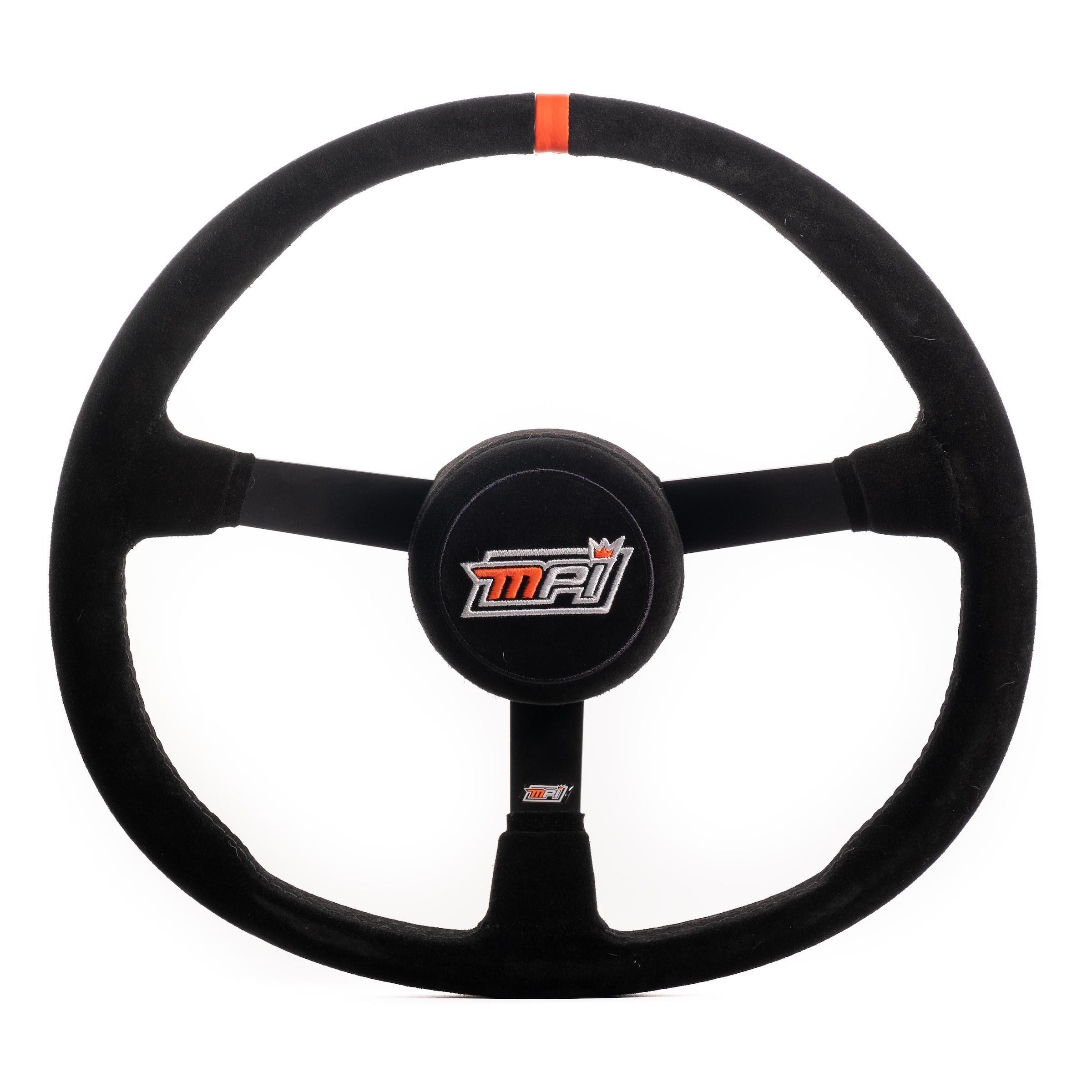 MPI USA MPI-MP2-15 Steering Wheel, Asphalt Circle Track, 15 in Diameter, 3-Spoke, 3-1/4 in Dish, Black Suede Grip, Orange Stripe, Thumb Insert, Steel, Black, Each