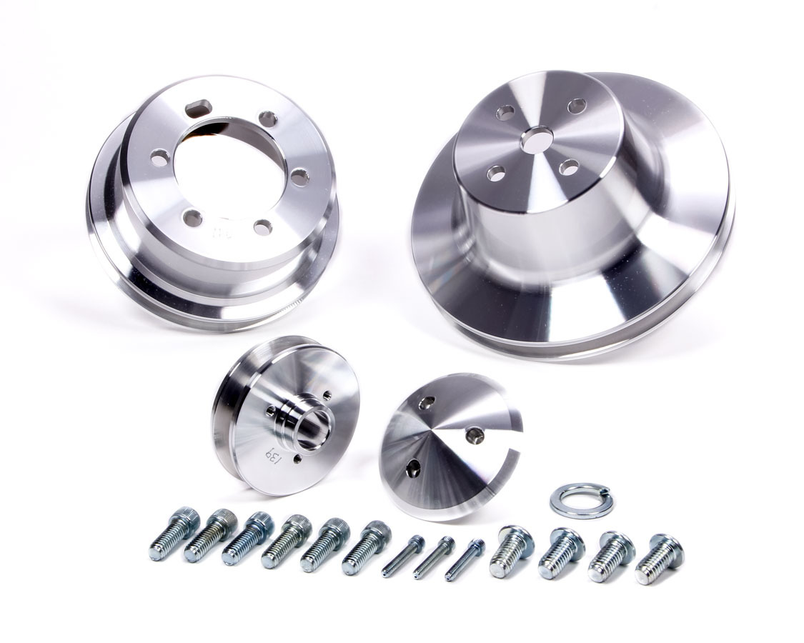 March Performance 10010 Pulley Kit, Performance Ratio, 1 Groove V-Belt, Aluminum, Clear Powder Coat, Mopar B / RB-Series, Kit