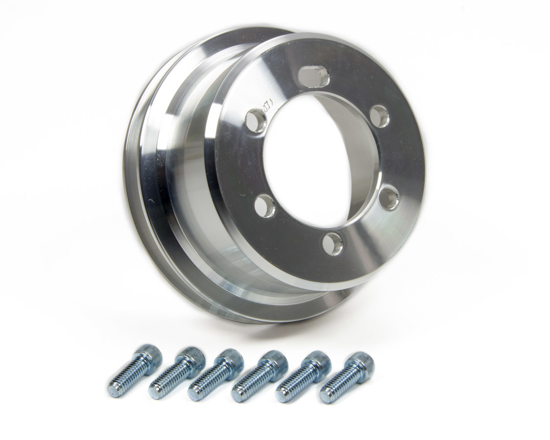 March Performance 10011 Crankshaft Pulley, V-Belt, 1 Groove, 5.250 in Diameter, Aluminum, Clear Powder Coat, Mopar V8, Each
