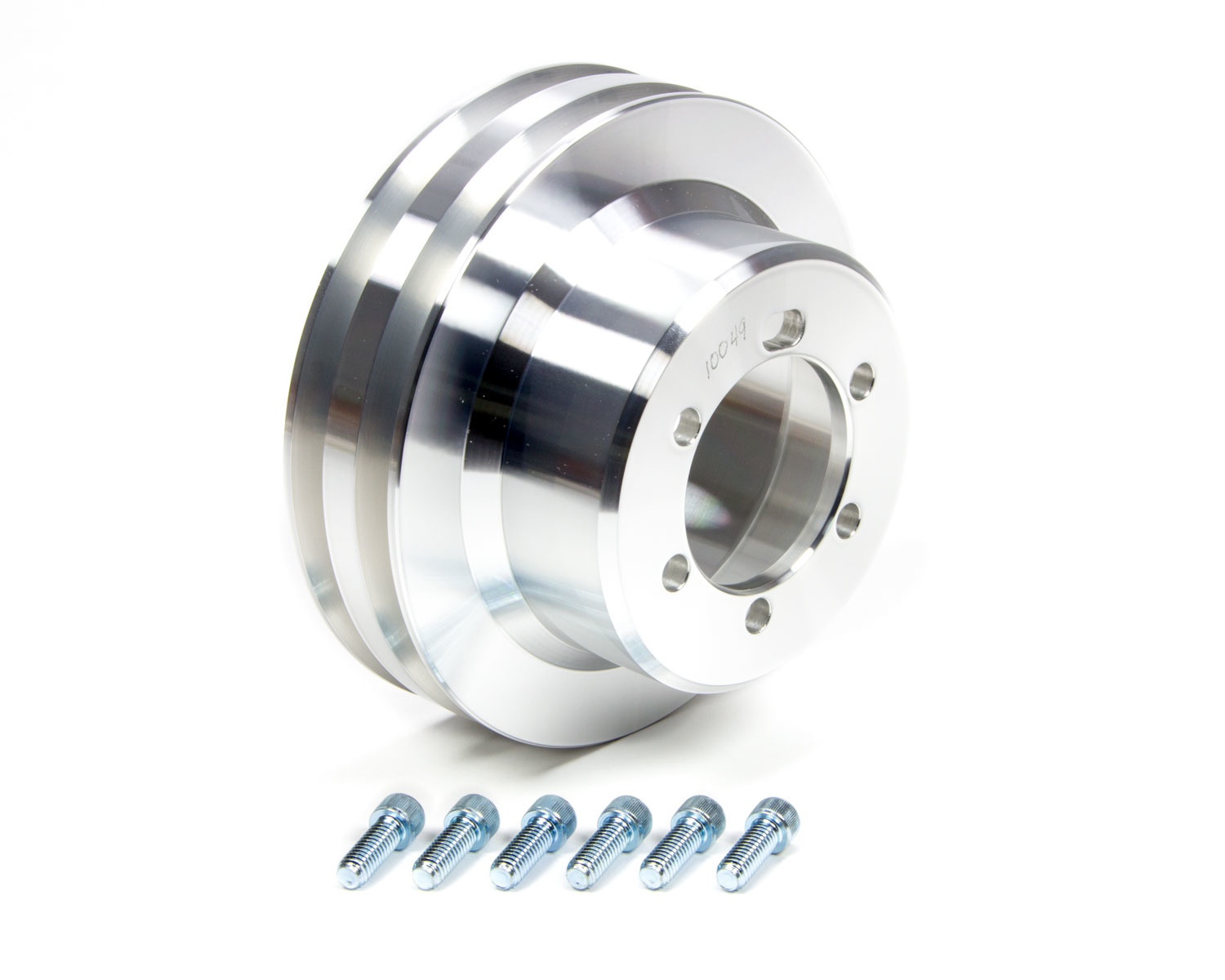 March Performance 10049 Crankshaft Pulley, V-Belt, 2 Groove, 6.500 in Diameter, Aluminum, Clear Powder Coat, Mopar V8, Each