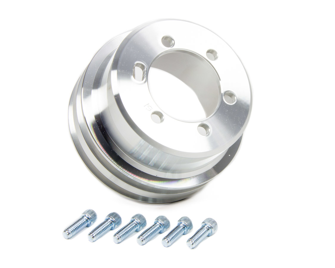 March Performance 10051 Crankshaft Pulley, V-Belt, 2 Groove, 5.250 in Diameter, Aluminum, Clear Powder Coat, Mopar V8, Each