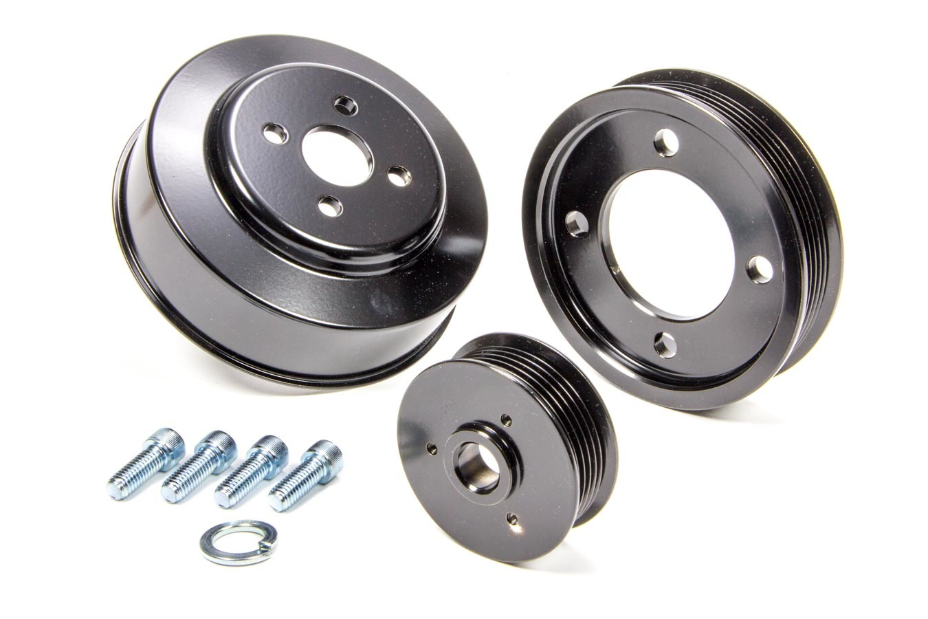 March Performance 1100-08 Pulley Kit, Performance, 6 Rib Serpentine, Aluminum / Steel, Black Powder coat, Small Block Ford, Ford Mustang 1994-95, Kit