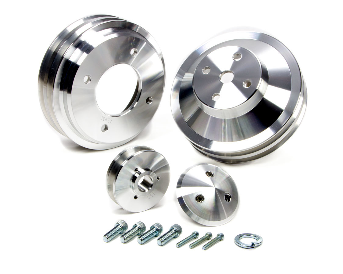 March Performance 13030 Pulley Kit, 2 Groove V-Belt, Aluminum, Clear Powder Coat, Pontiac V8, Kit