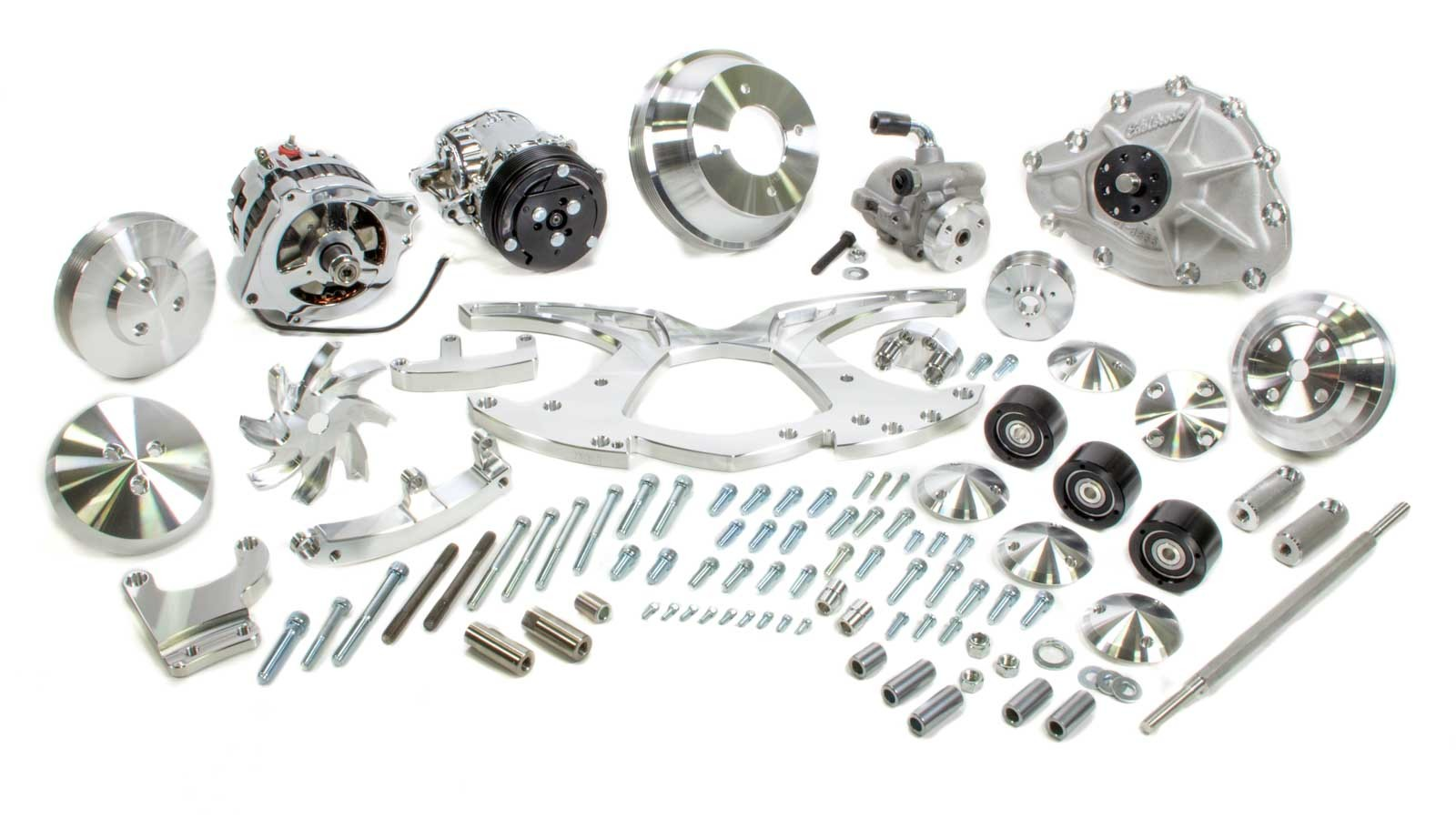 March Performance 13135 Pulley Kit, Style Track, 6 Rib Serpentine, Aluminum, Clear Powder Coat, Pontiac V8, Kit