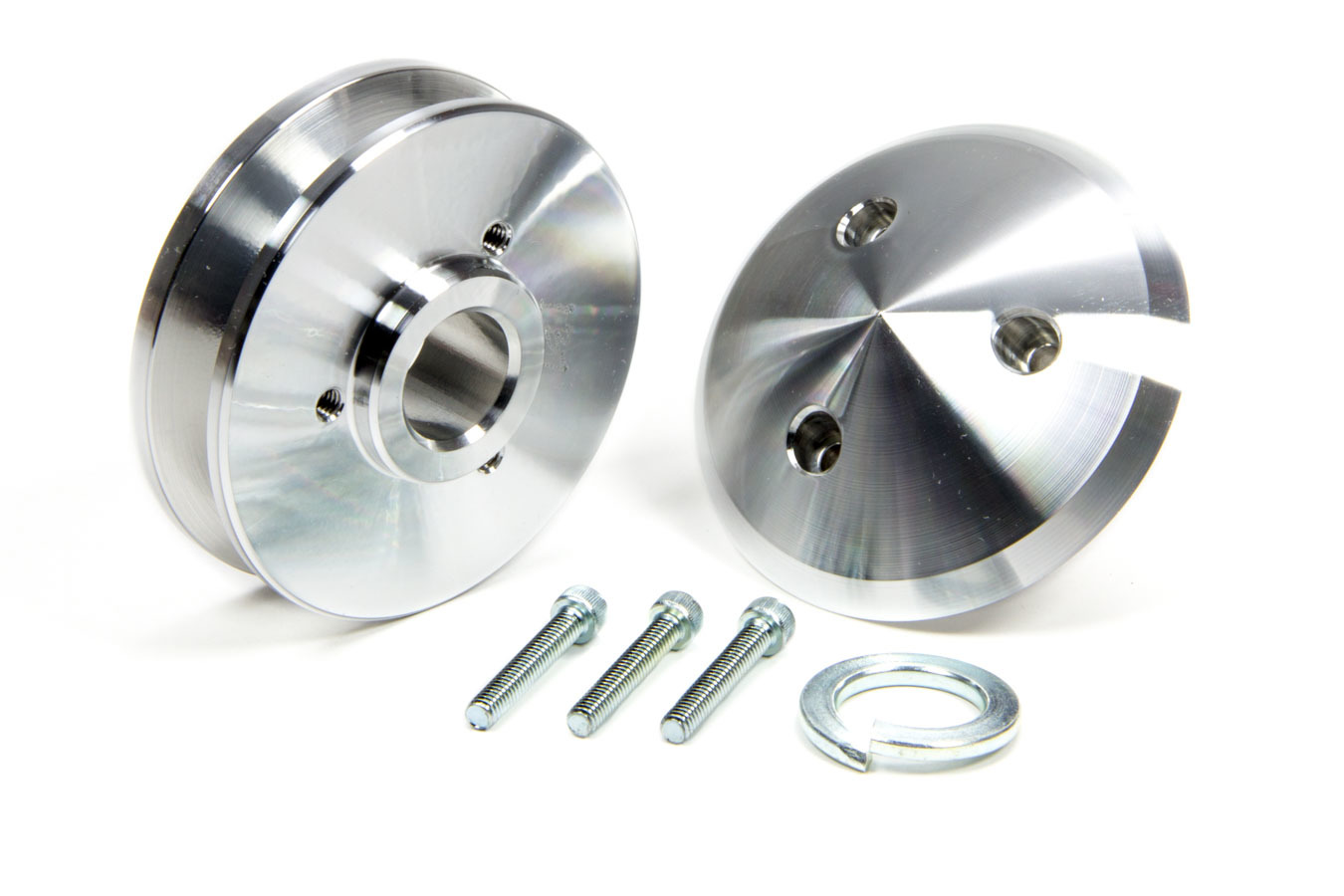 March Performance 137 Alternator Pulley, V-Belt, 1 Groove, 2.688 in Diameter, Cover Included, Aluminum, Clear Powder Coat, Universal, Kit
