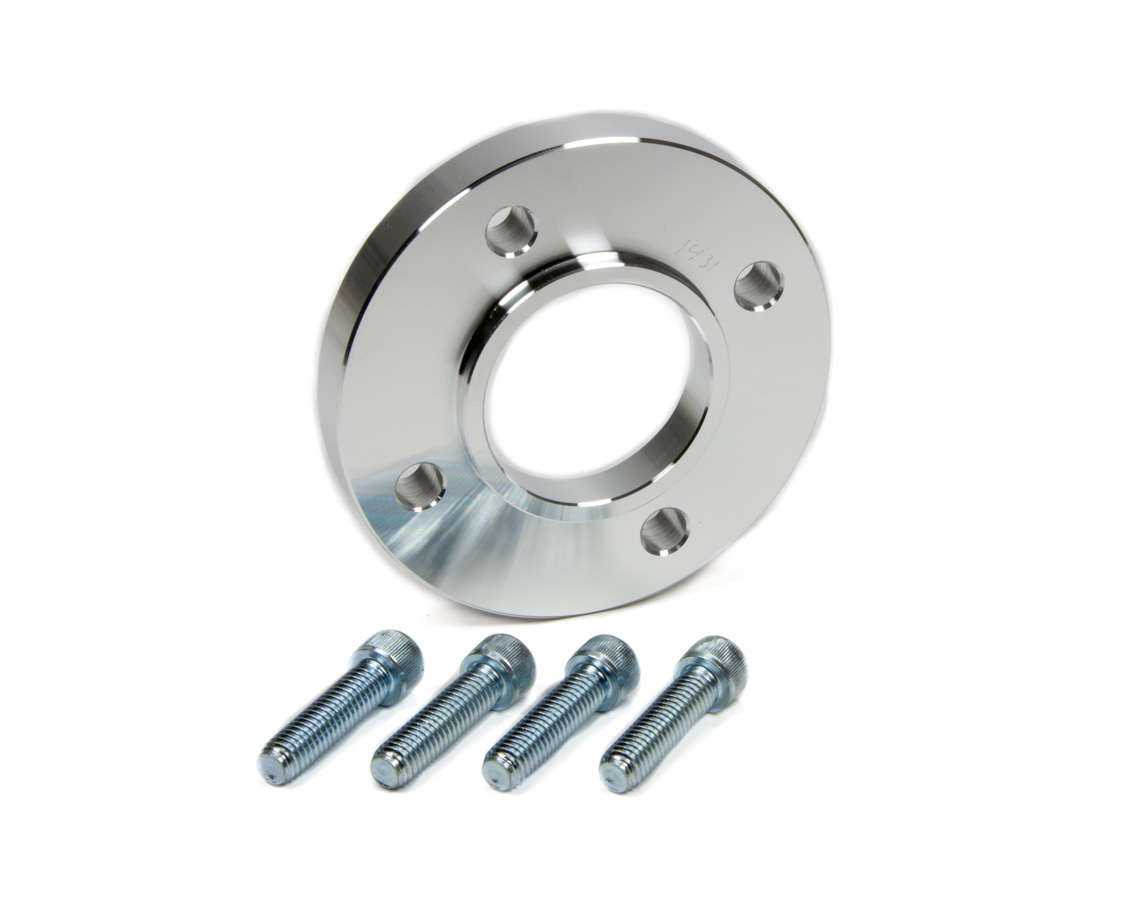 March Performance 1431 Crankshaft Pulley Spacer, 0.614 in Thick, Aluminum, Natural, 4-Bolt Balancer, Small Block Ford, Each
