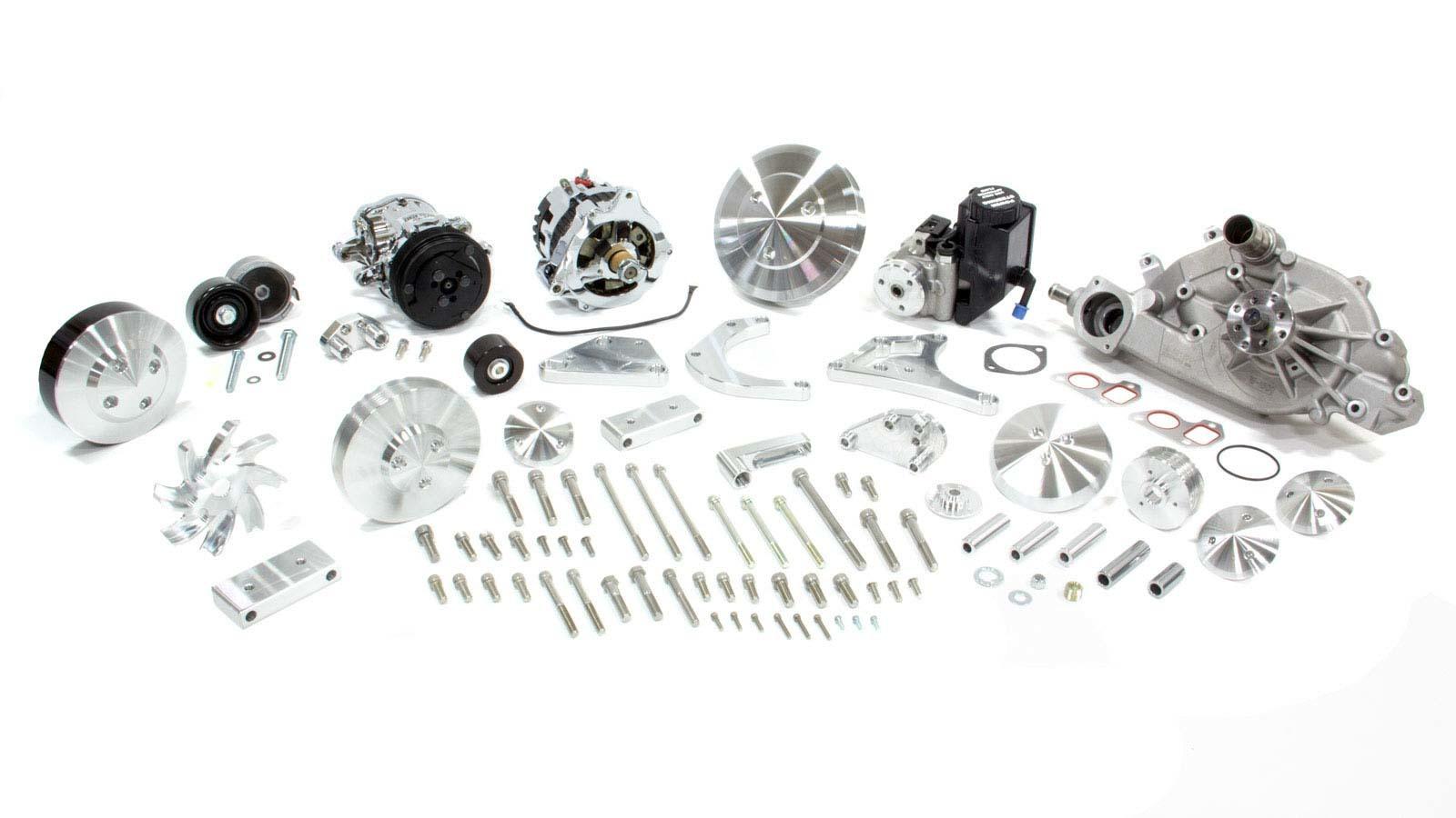 Black Anodize Pulley Kit Kit Small Block Chevy Aluminum Economy 10 Rib Serpentine Water Pump