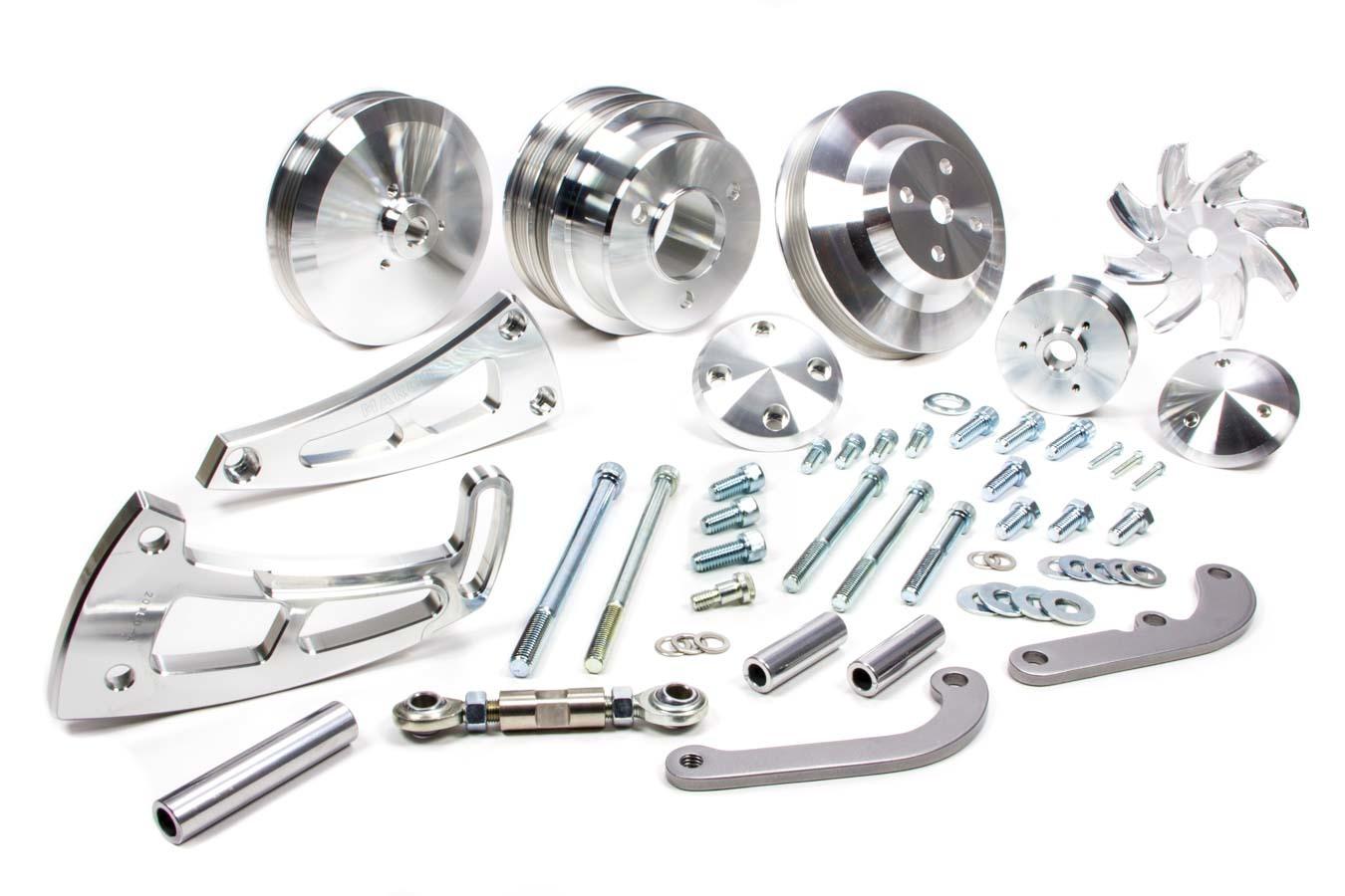 March 23020 Pulley Kit, Ultra, Performance, 6 Rib Serpentine, Aluminum, Clear Powder Coat, Long Water Pump, Big Block Chevy, Kit