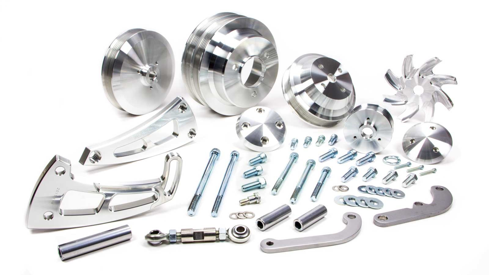 March 23050 Pulley Kit, Ultra, High Water Flow, 6 Rib Serpentine, Aluminum, Clear Powder Coat, Long Water Pump, Big Block Chevy, Kit