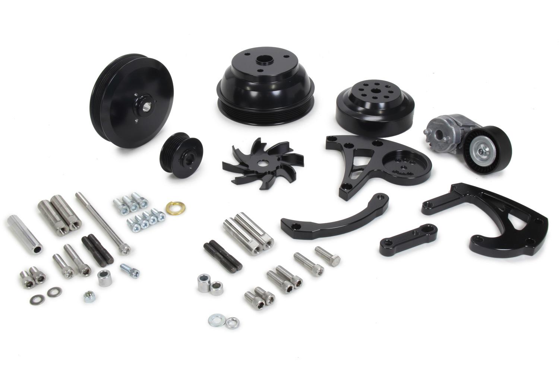 March 25157-08 Pulley Kit, Ultra, 6 Rib Serpentine, Aluminum, Black Powder Coat, Long Water Pump, Small Block Chevy, Kit